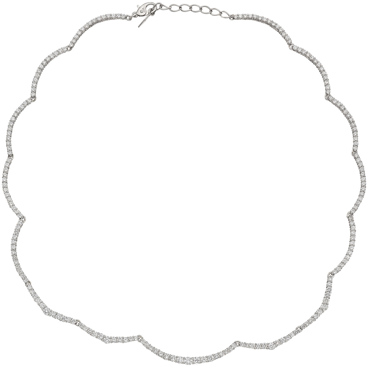 Diamond Scalloped Edge Link Necklace
