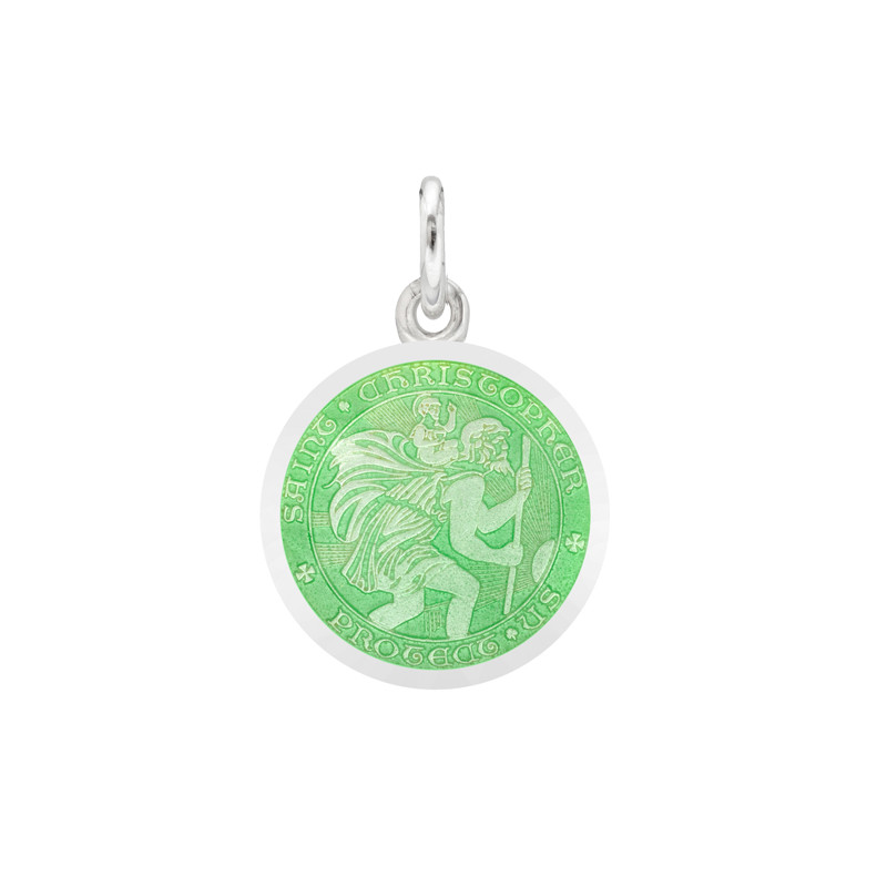 XS Silver St Christopher Medal with Light Green Enamel