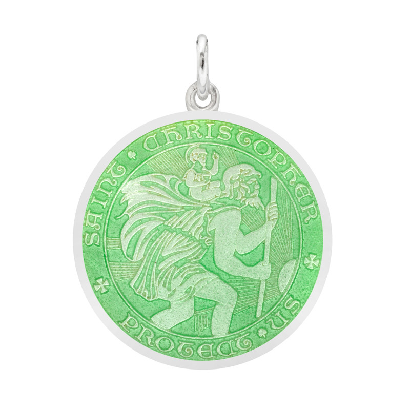 Medium St Christopher Medal with Light Green Enamel