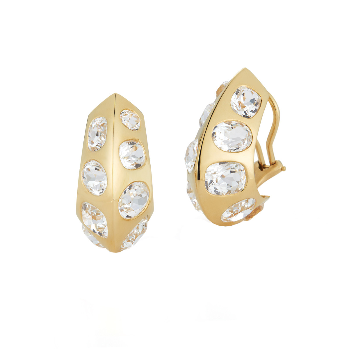 "18k Yellow Gold & White Topaz ""Antibes"" Earrings"