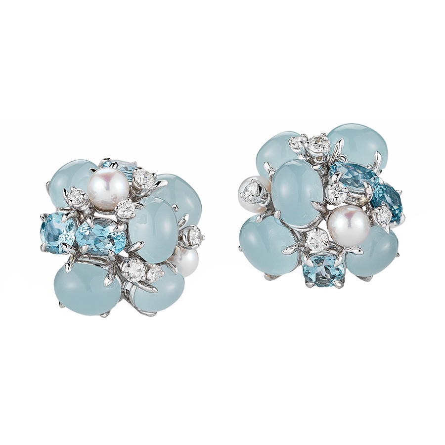 Aquamarine Pearl Diamond Bubble Earrings