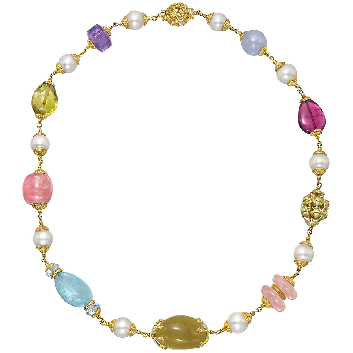 "Multicolored Gemstone & Pearl ""Baroque"" Bead Necklace"