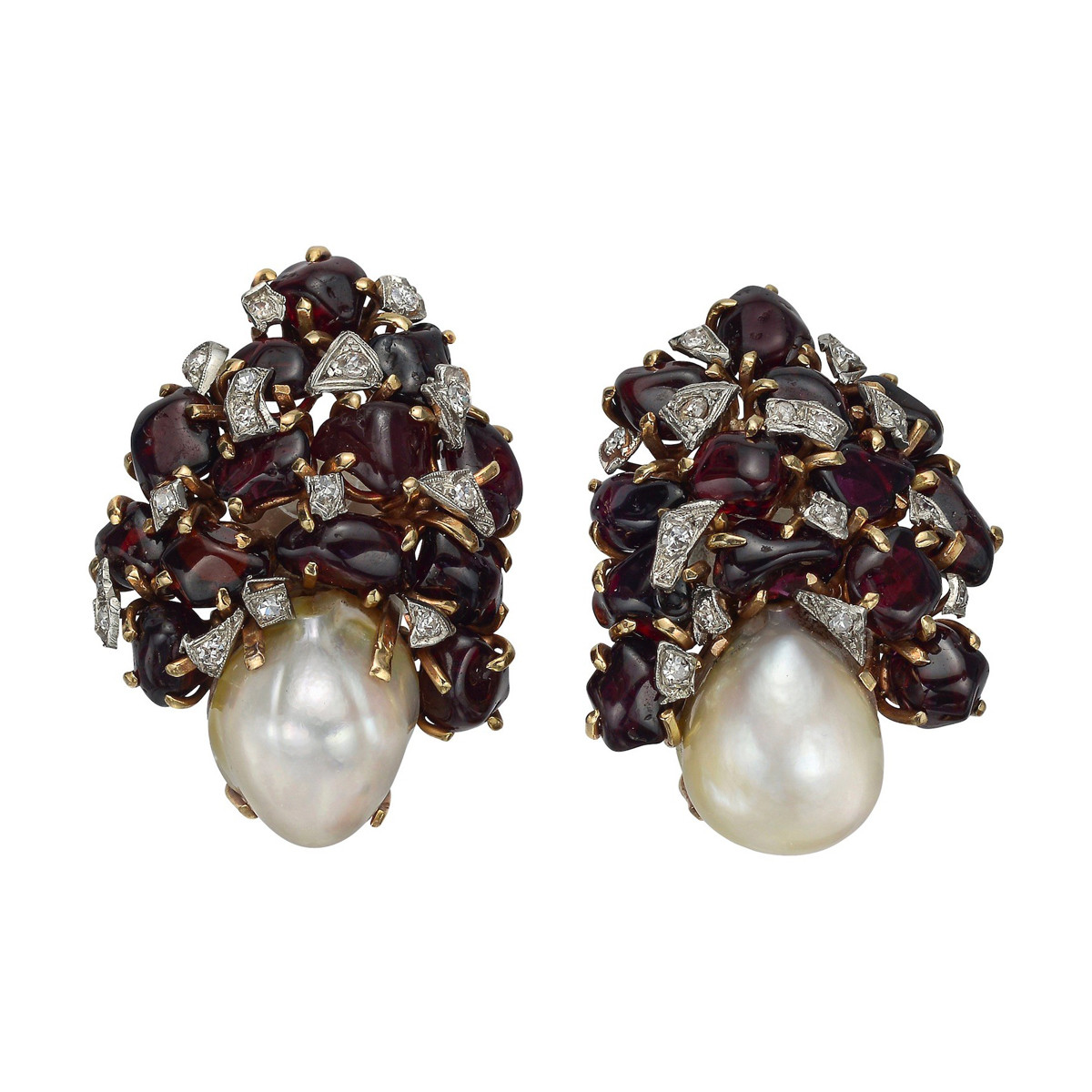 Baroque Pearl, Garnet & Diamond Earclips