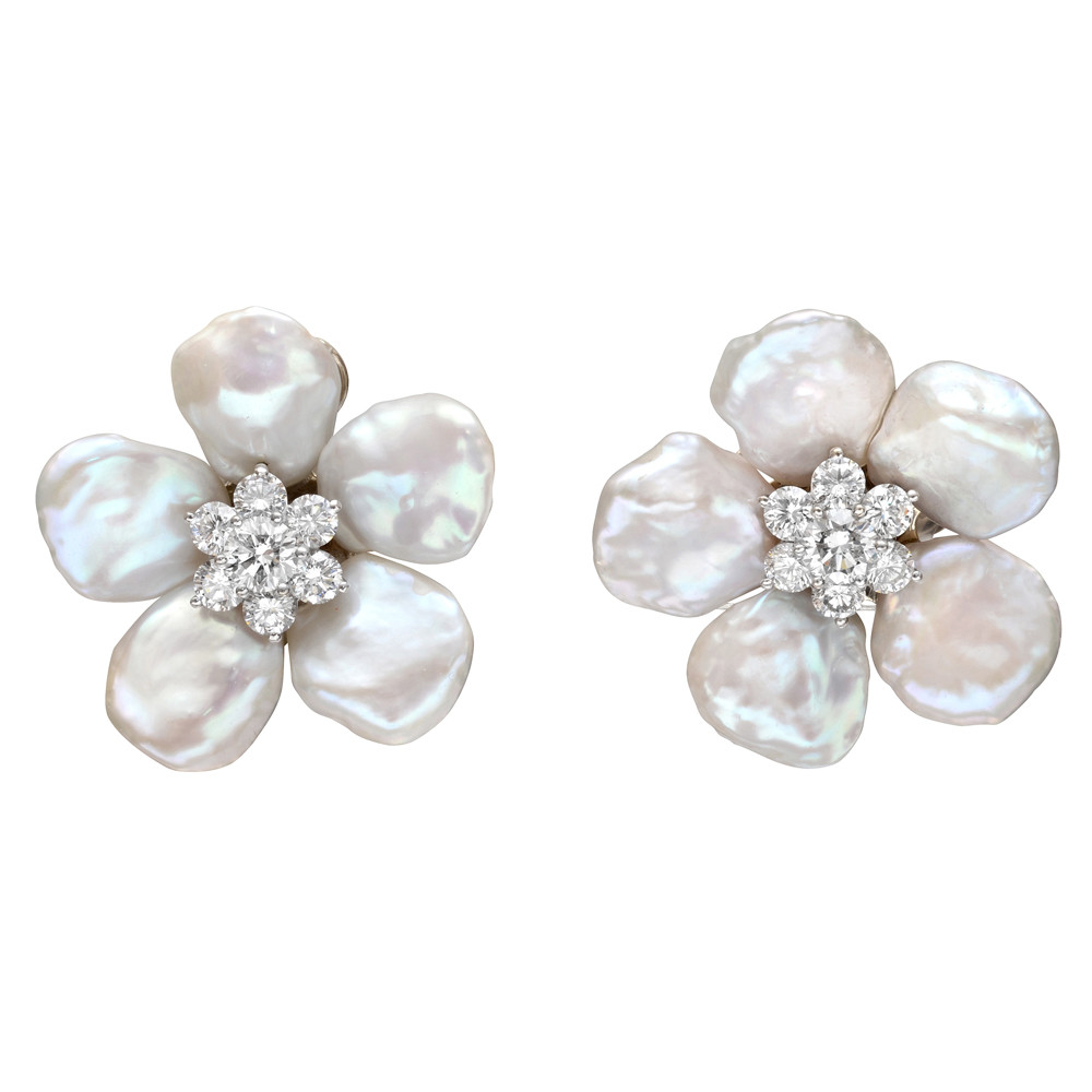 Large Biwa Flower Keshi Pearl Diamond Cer Earrings