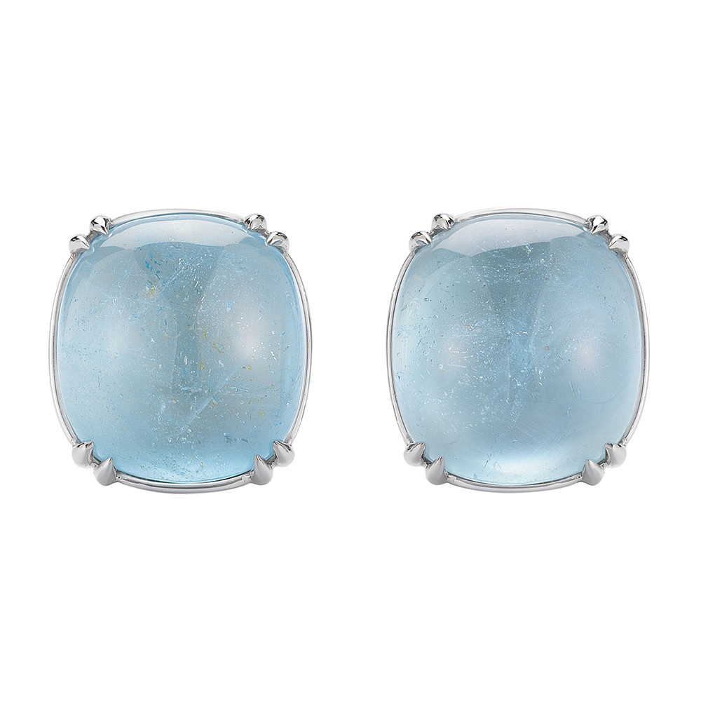 "18k White Gold & Blue Topaz ""Capri"" Earrings"