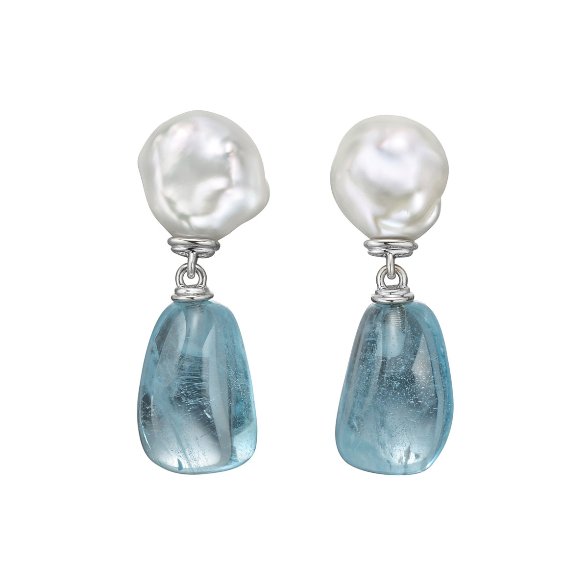 "Baroque Pearl & Blue Topaz ""Seville"" Drop Earclips"