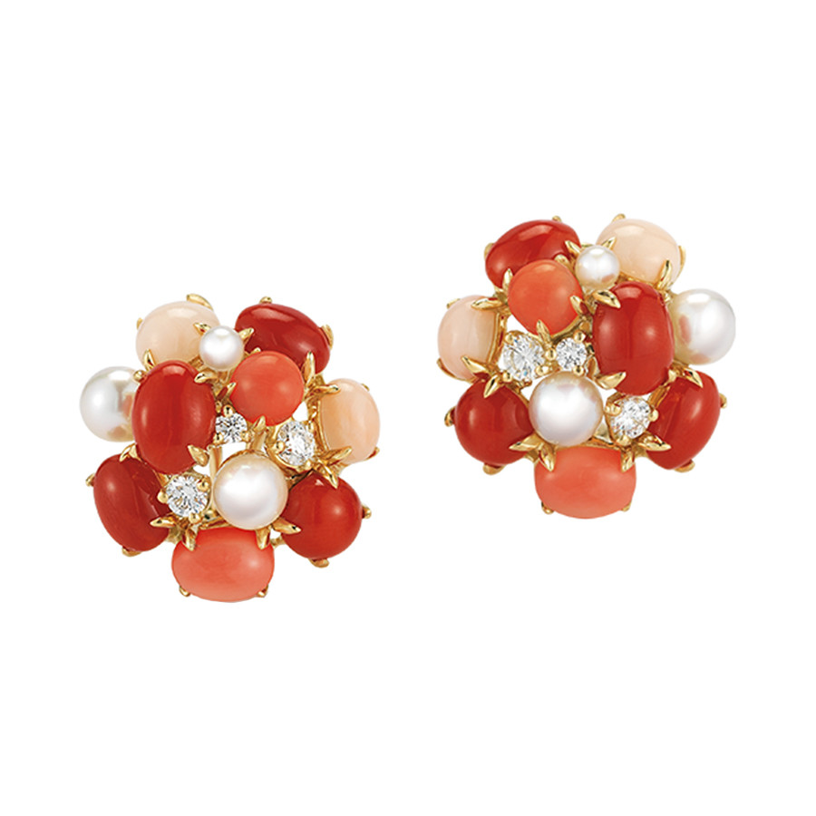 "Carnelian, Coral & Pearl ""Bubble"" Earrings"