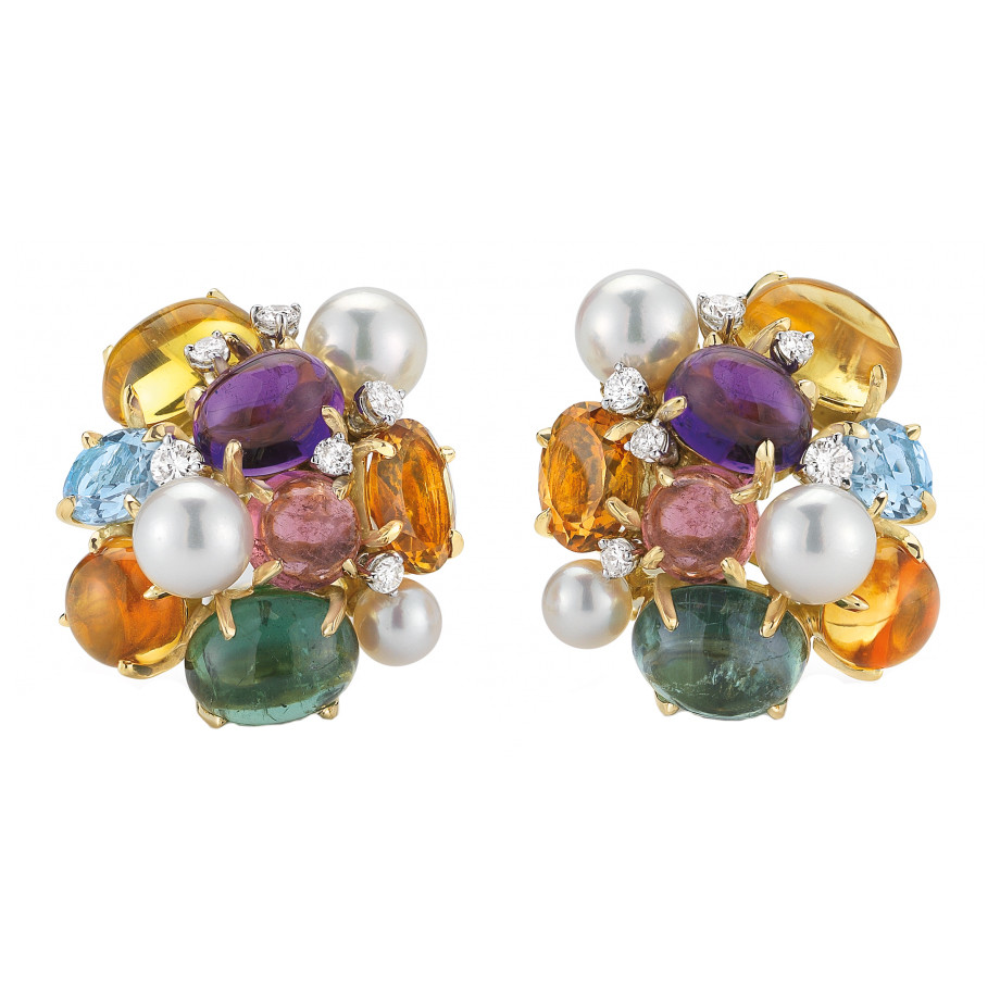 "Multicolored Gemstone & Pearl ""Bubble"" Earrings"