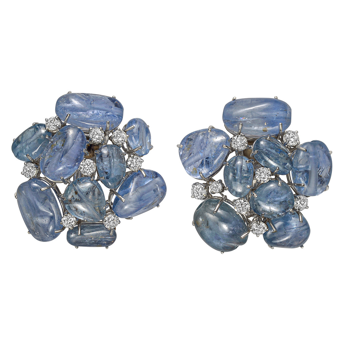 Cabochon Sapphire & Diamond Cluster Earclips