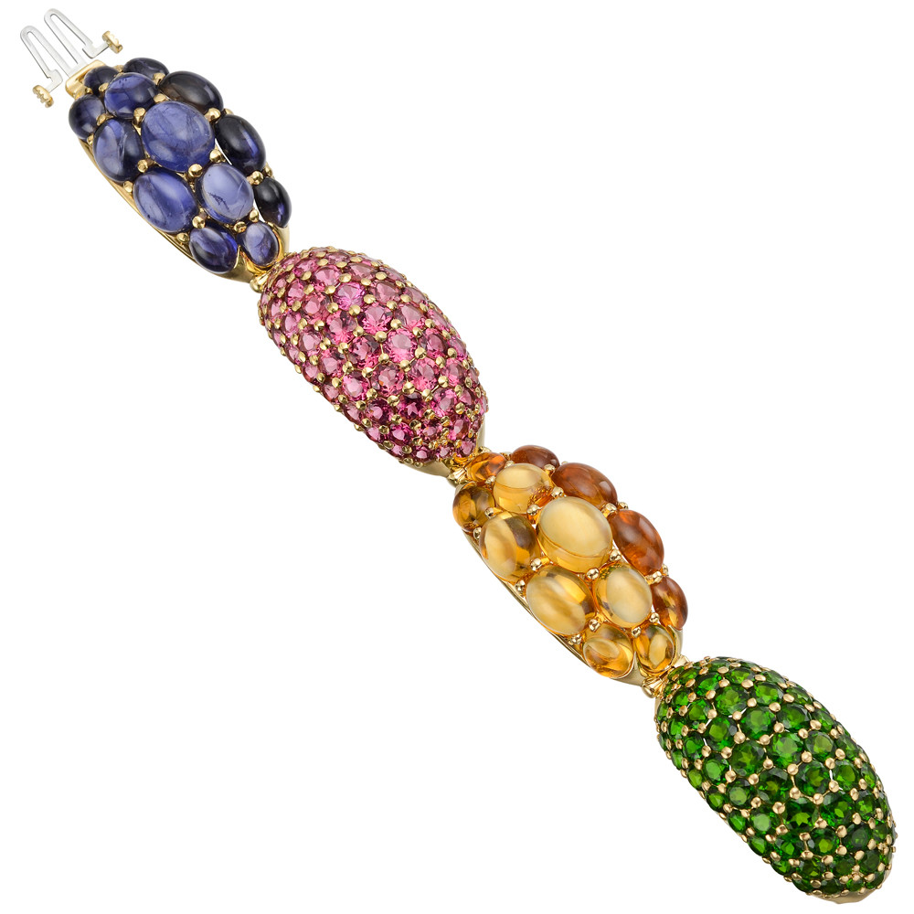 "Multicolored Gemstone ""Elbow"" Bracelet"