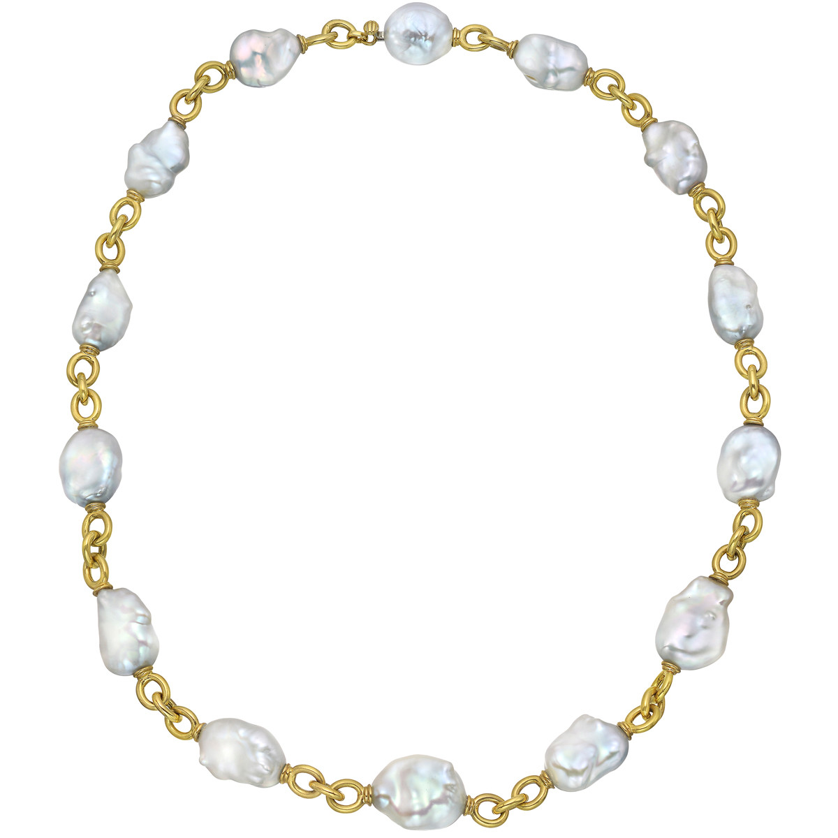 18k Yellow Gold & Baroque Pearl Link Necklace