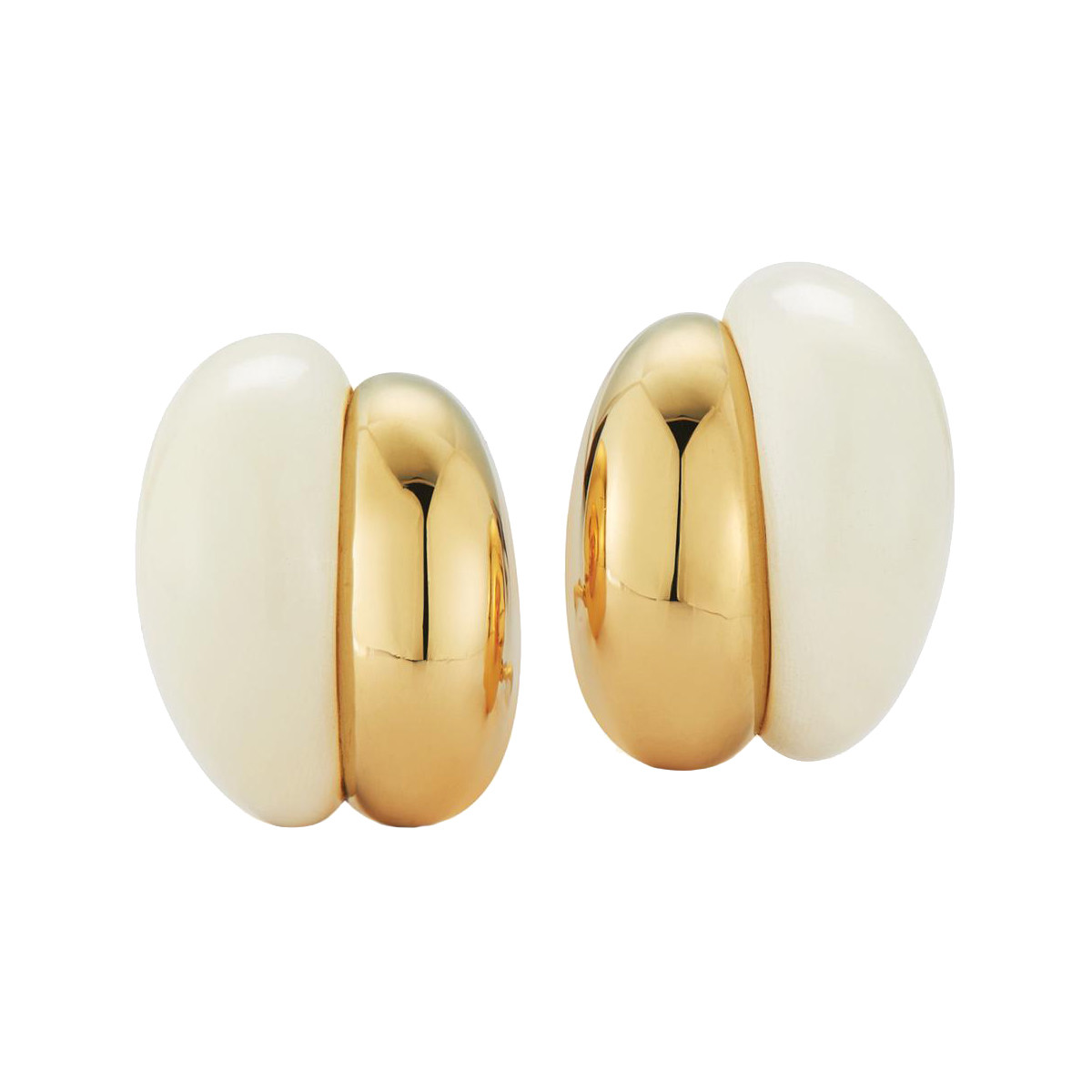 "18k Gold & Tagua Nut ""Silhouette"" Earrings"