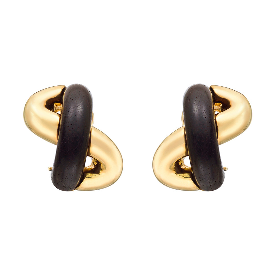 "18k Gold & Wood ""Oval Link"" Earclips"