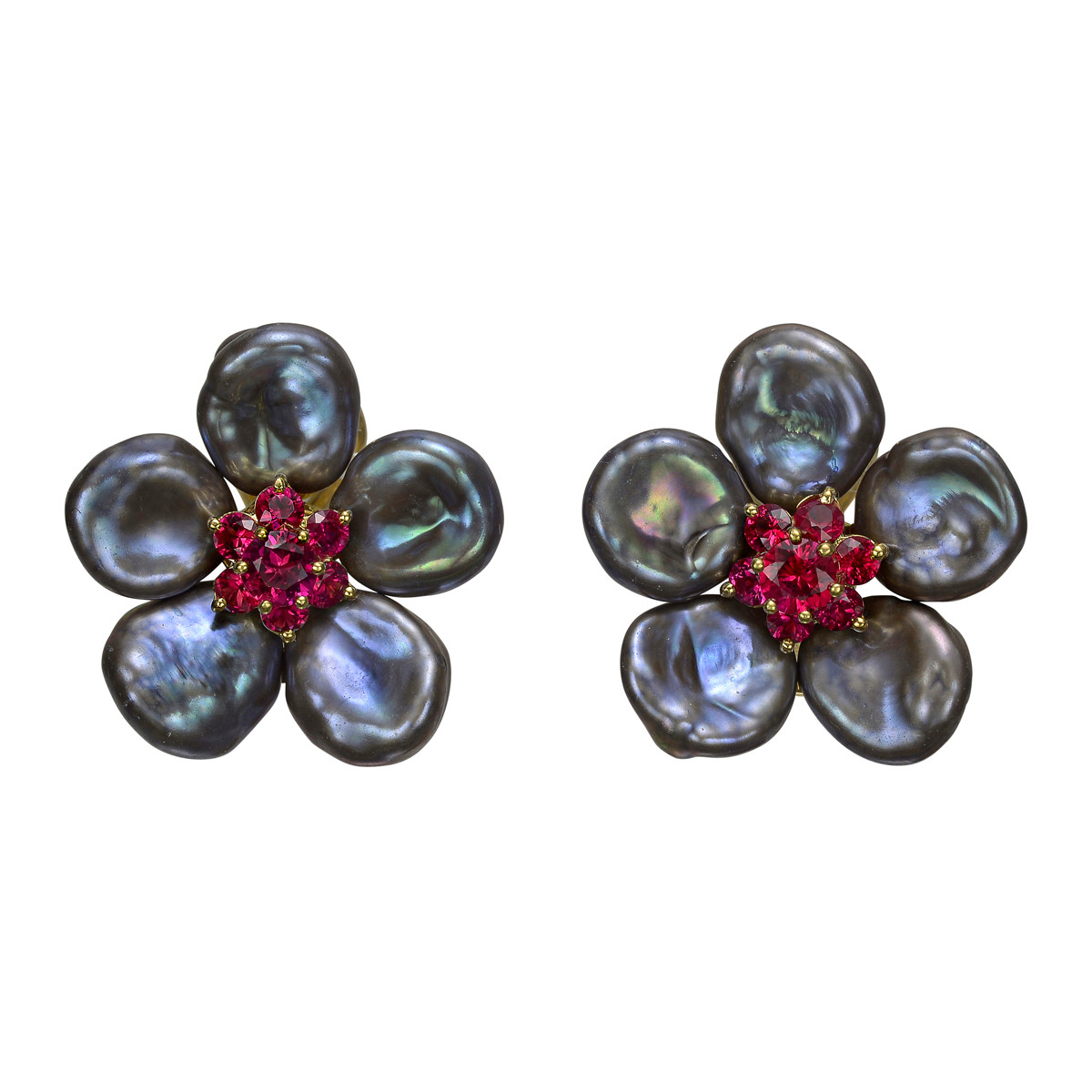 "Gray Pearl & Ruby ""Biwa Flower"" Earrings"