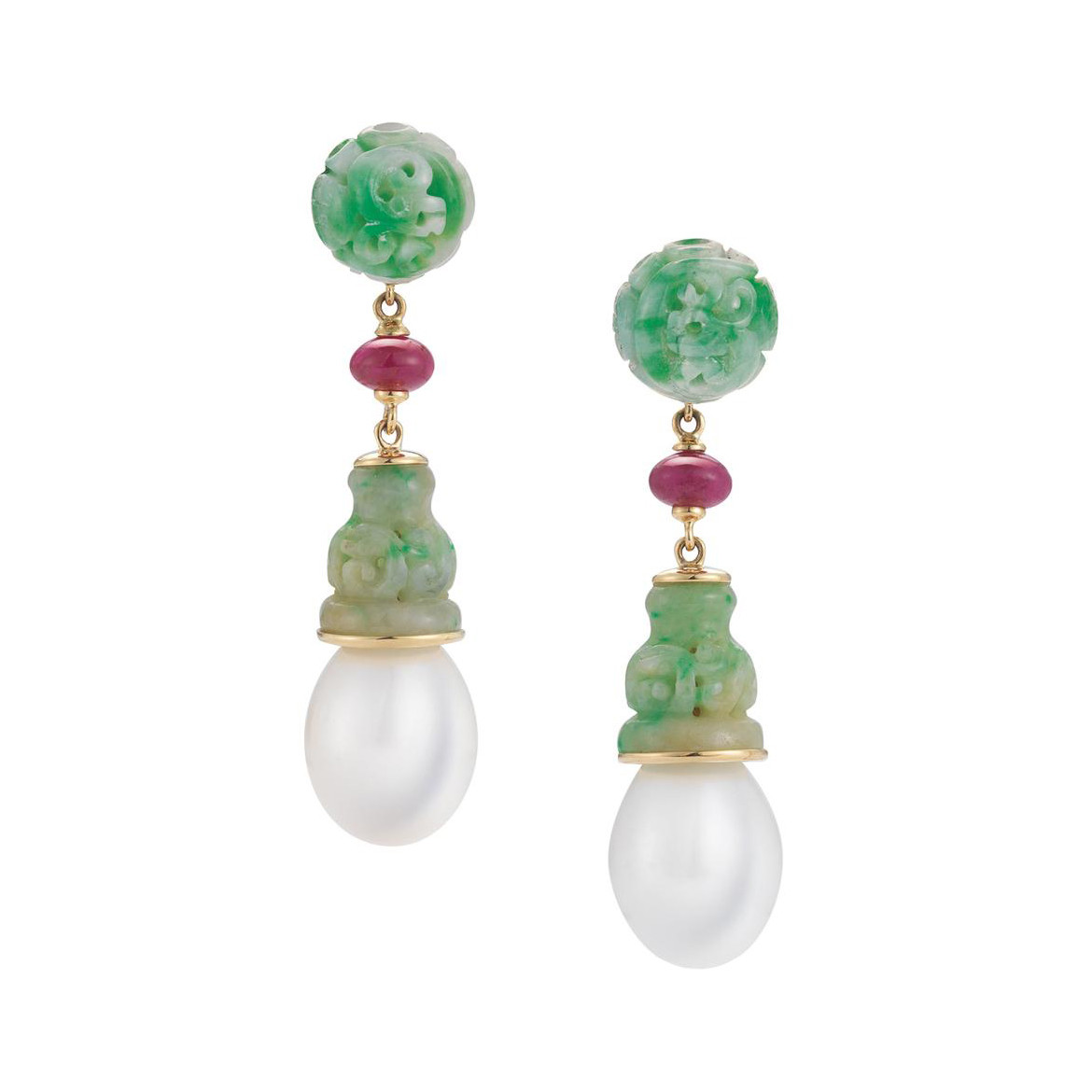 "Jadeite, Ruby & Pearl ""Canton"" Drop Earrings"