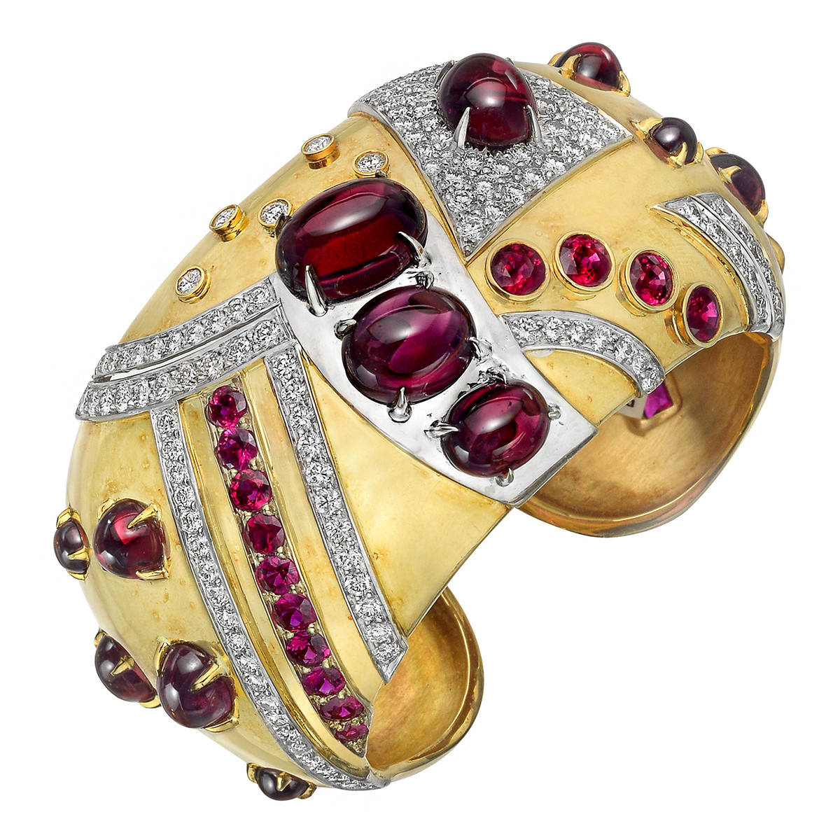 "Ruby, Diamond & Garnet ""Jazz"" Cuff Bracelet"