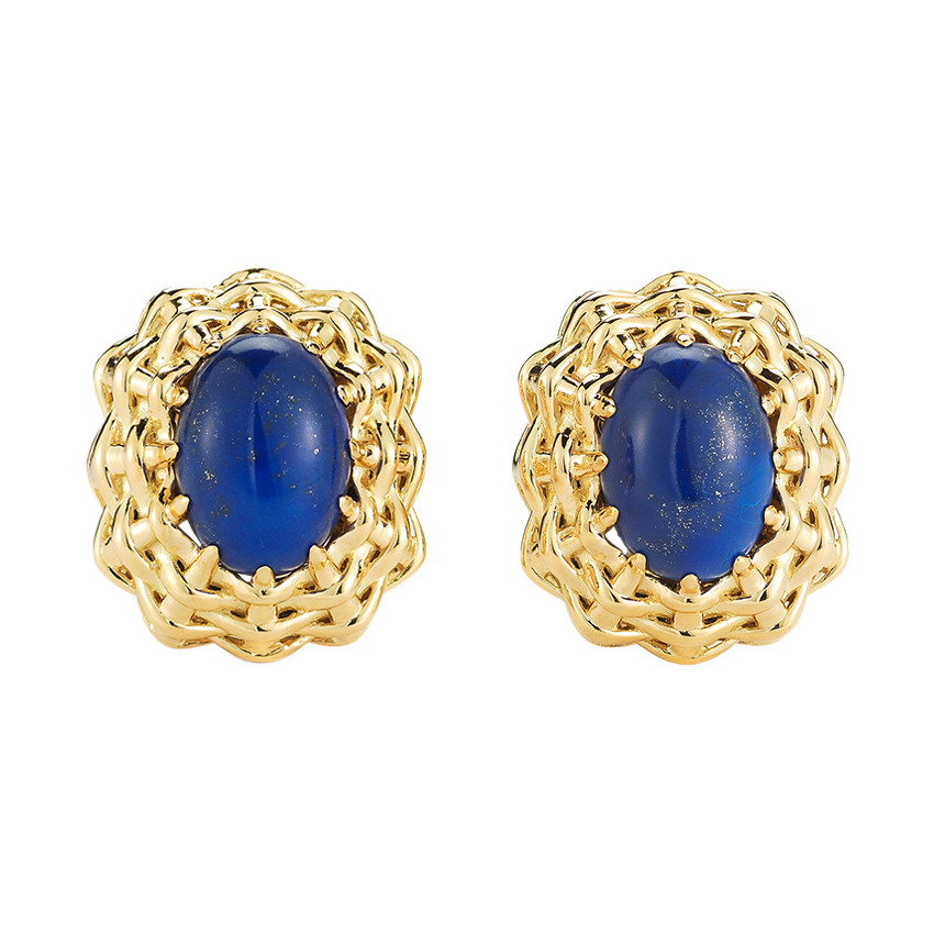"18k Yellow Gold & Lapis ""Nantucket"" Earrings"