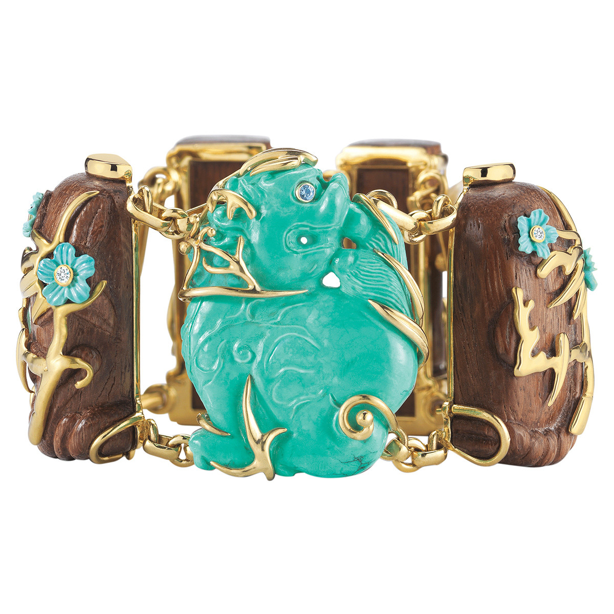 "Turquoise & Walnut Wood ""Palace Dog"" Bracelet"