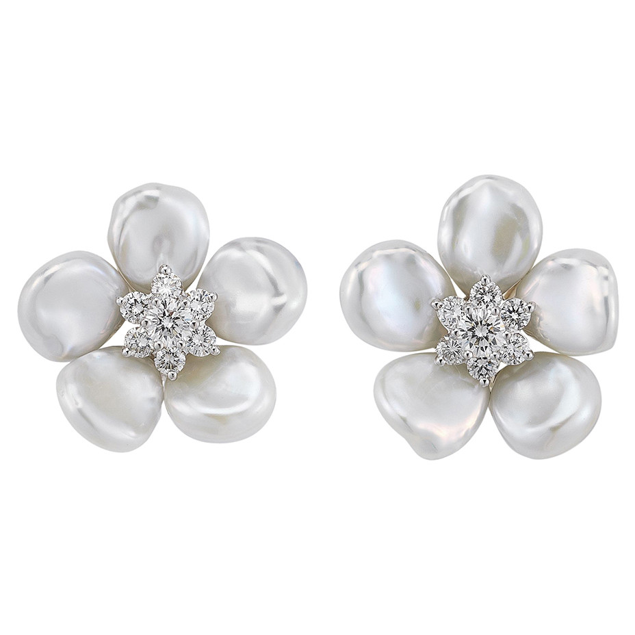 "Large Pearl & Diamond ""Biwa Flower"" Earrings"