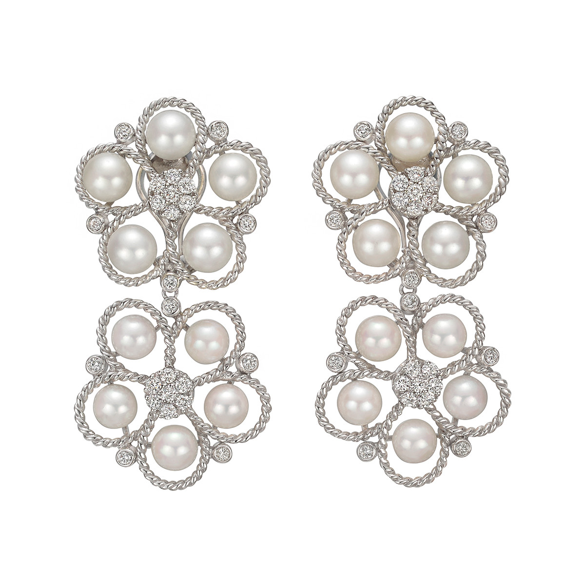 Pearl & Diamond Madeira Flower Drop Earrings