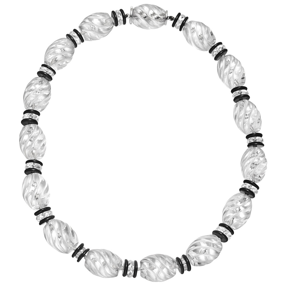 Rock Crystal, Onyx & Diamond Bead Necklace