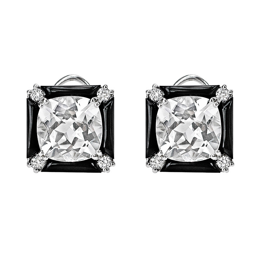 "Rock Crystal & Onyx ""Carre"" Earrings"