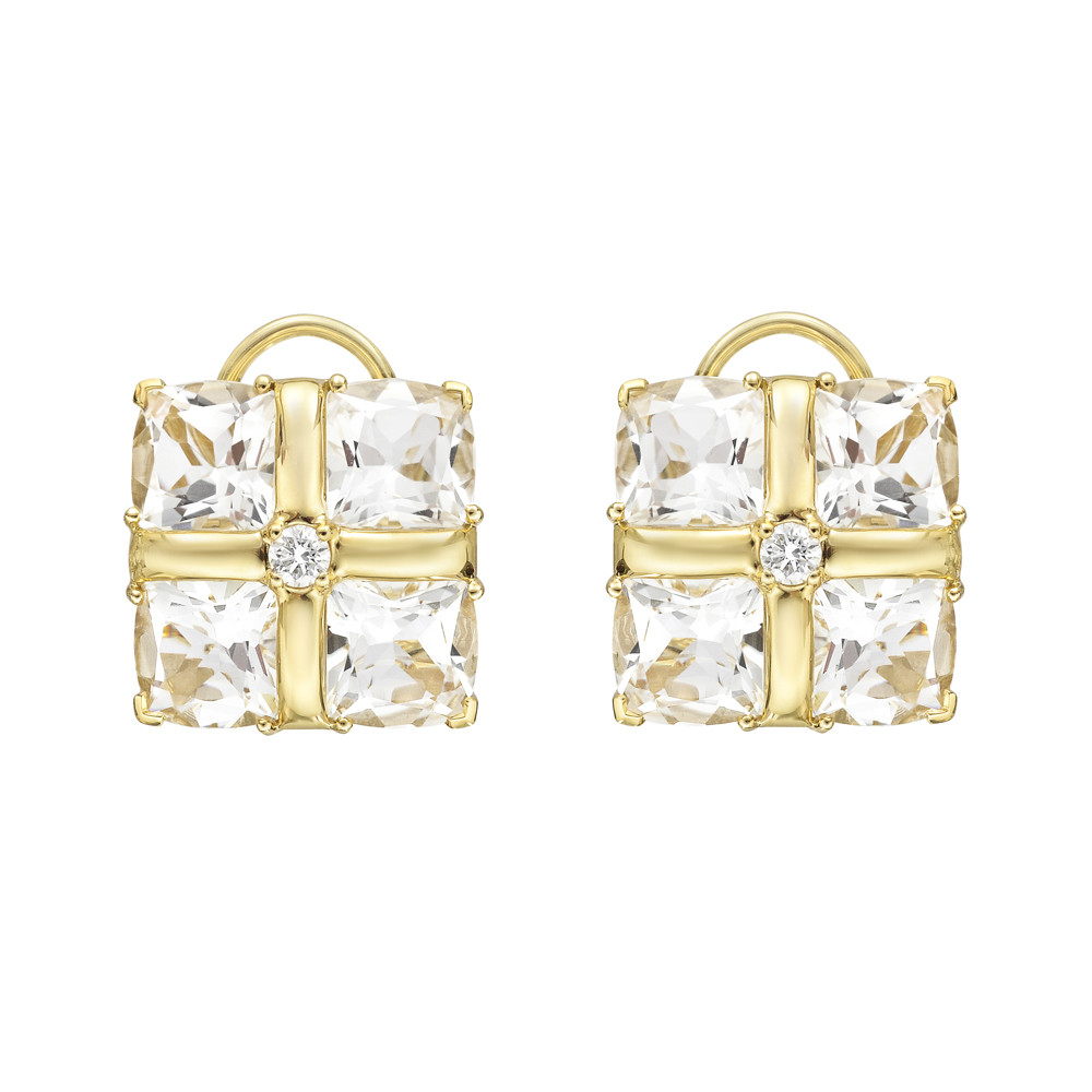 "18k Yellow Gold & Rock Crystal ""Quad"" Earclips"