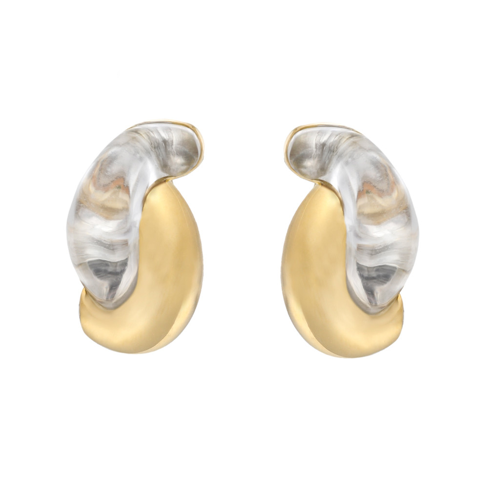 "18k Gold & Rock Crystal ""Half Link"" Earclips"