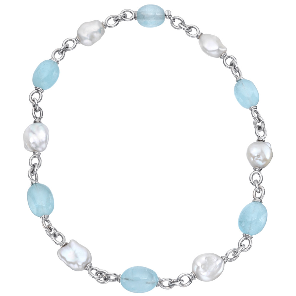 "Blue Topaz & Pearl ""Seville"" Bead Necklace"