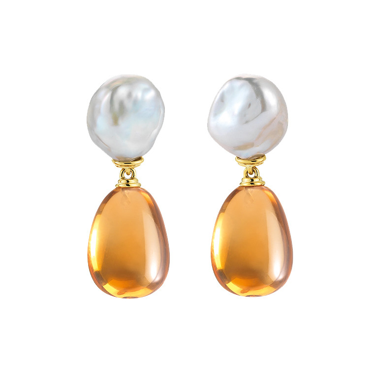 "Baroque Pearl & Citrine ""Seville"" Drop Earclips"