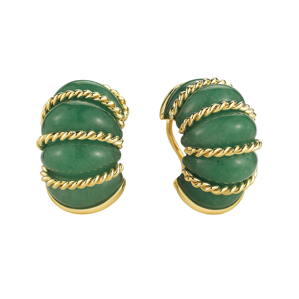 "18k Gold & Green Aventurine ""Shrimp"" Earrings"