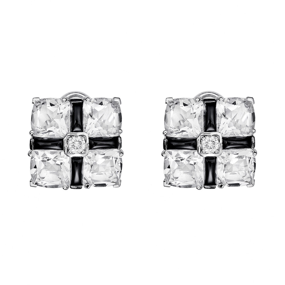 "Rock Crystal & Black Onyx ""Quad"" Earclips"