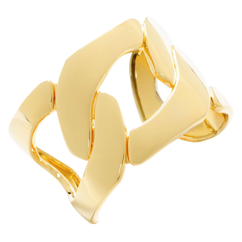 18k Yellow Gold Three Link Cuff Bracelet