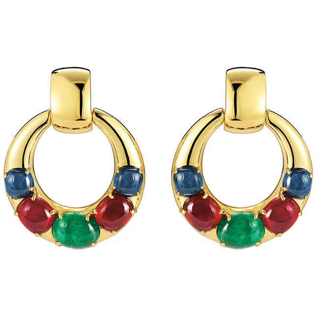 "18k Gold & Gemstone ""Torino"" Earrings"