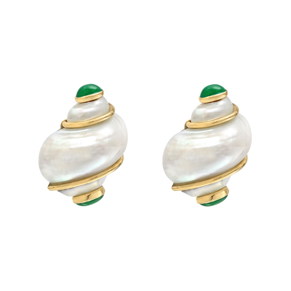 "Small ""Turbo Shell"" Earclips with Emerald Caps"