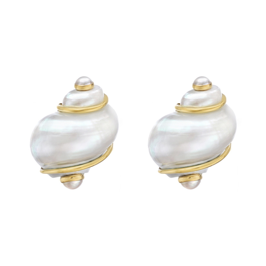 "Small Pearl ""Turbo Shell"" Earclips"