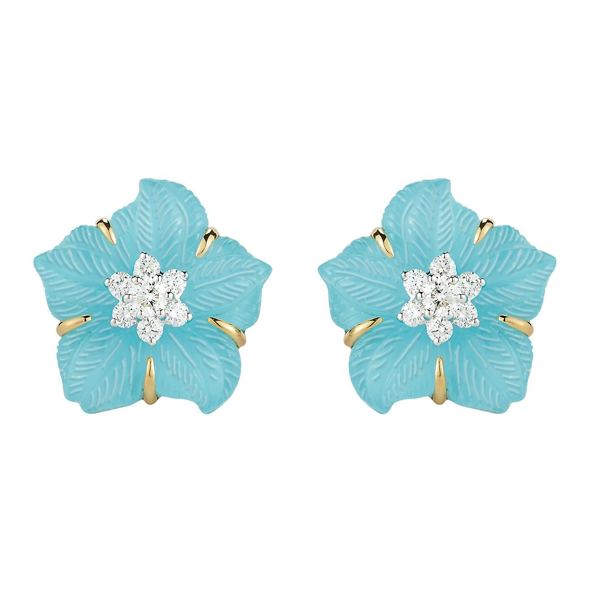 "Rock Crystal, Turquoise & Diamond ""Clematis"" Flower Earrings"