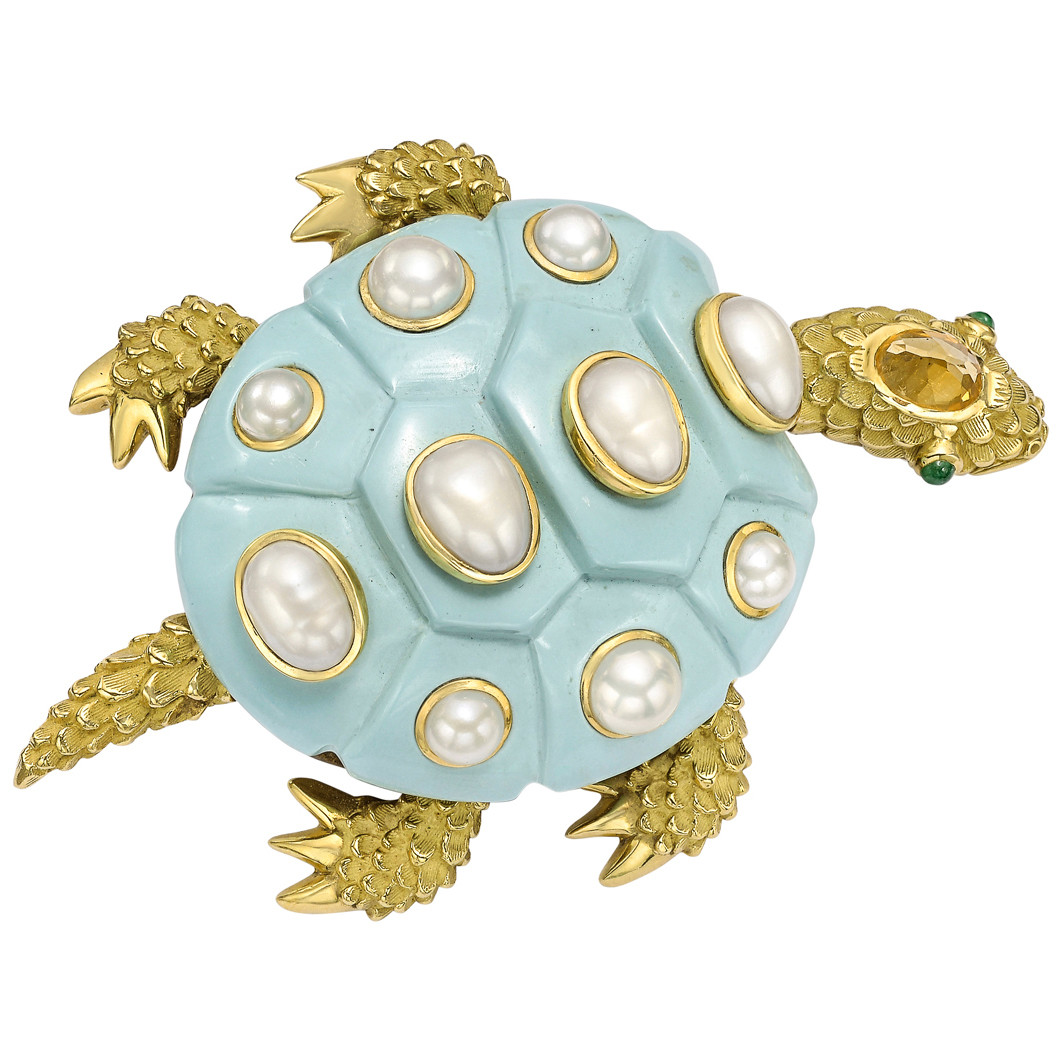 18k Gold, Turquoise & Pearl Turtle Brooch