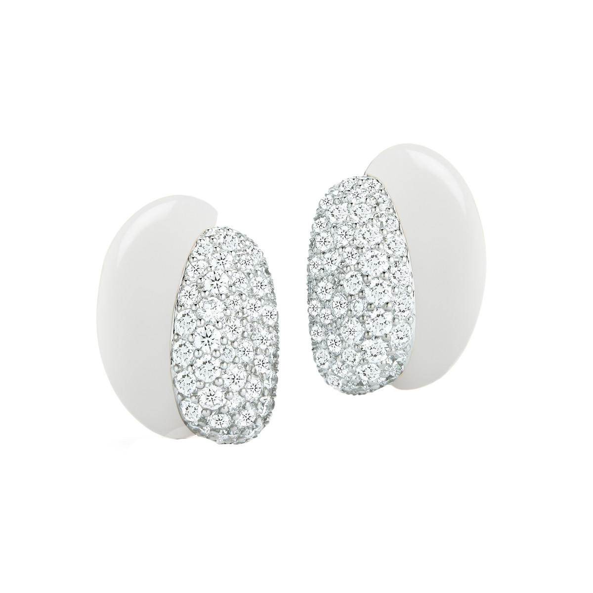 "White Ceramic & Pavé Diamond ""Silhouette"" Earrings"