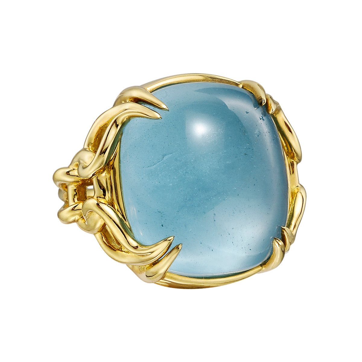 "18k Yellow Gold & Blue Topaz ""Capri"" Ring"