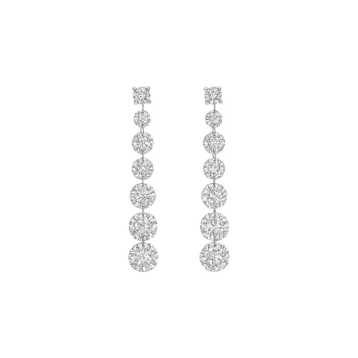 Seven Diamond Chain Drop Earrings