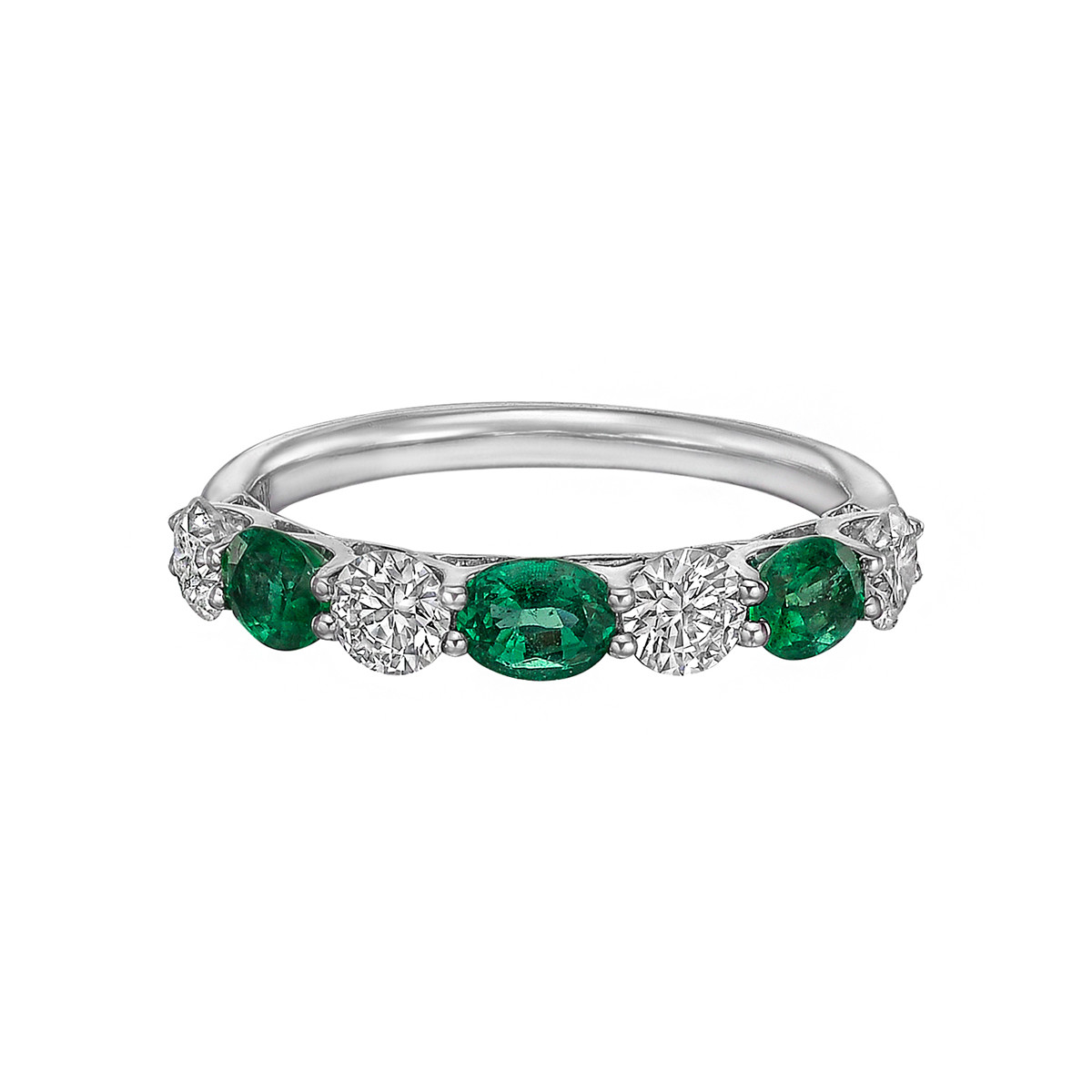 Seven-Stone Oval Emerald & Round Diamond Band