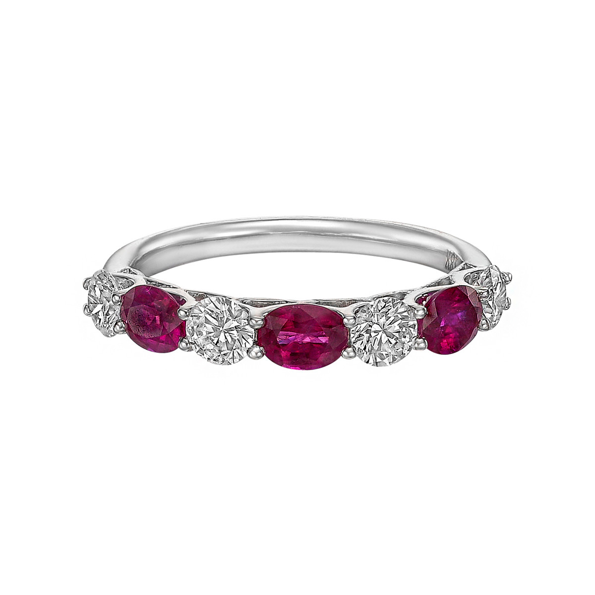 Seven-Stone Oval Ruby & Round Diamond Band