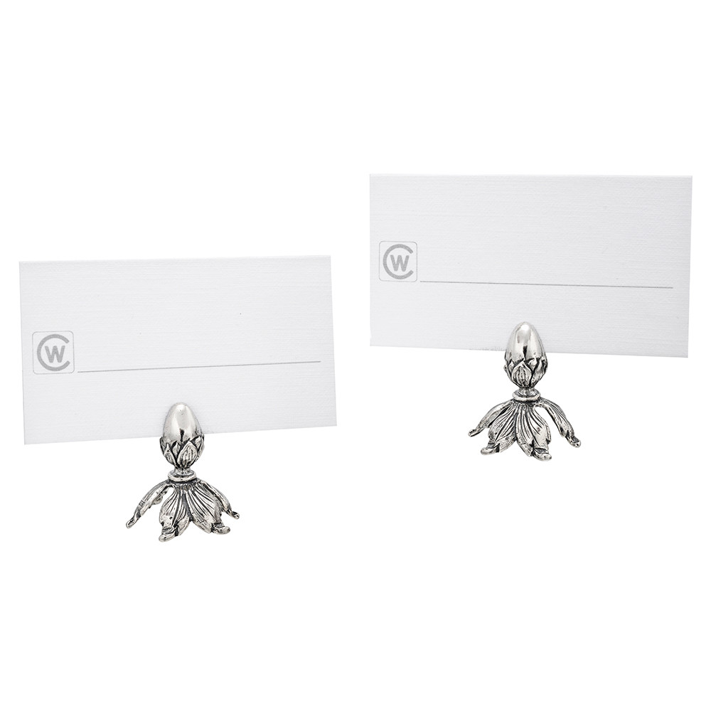 Pair of Small Silver Acorn Place Card Holders
