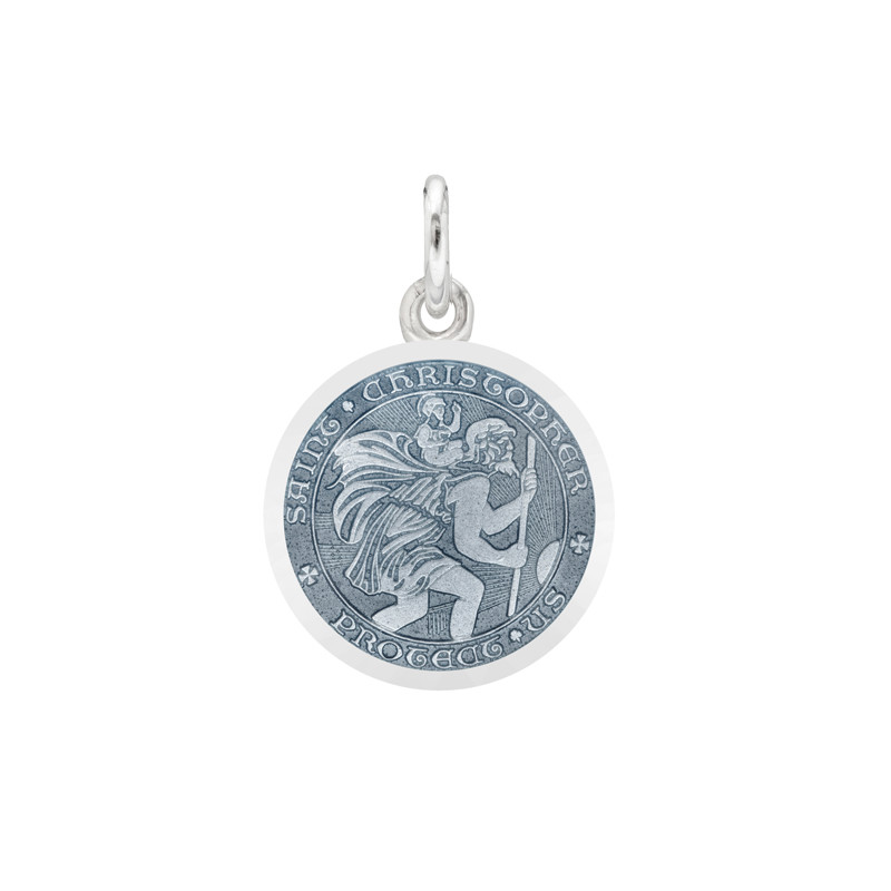 XS Silver St. Christopher Medal with Gray Enamel
