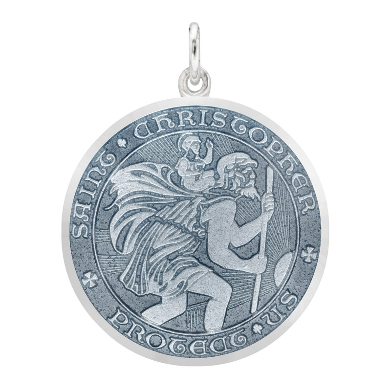Large Silver St. Christopher Medal with Gray Enamel