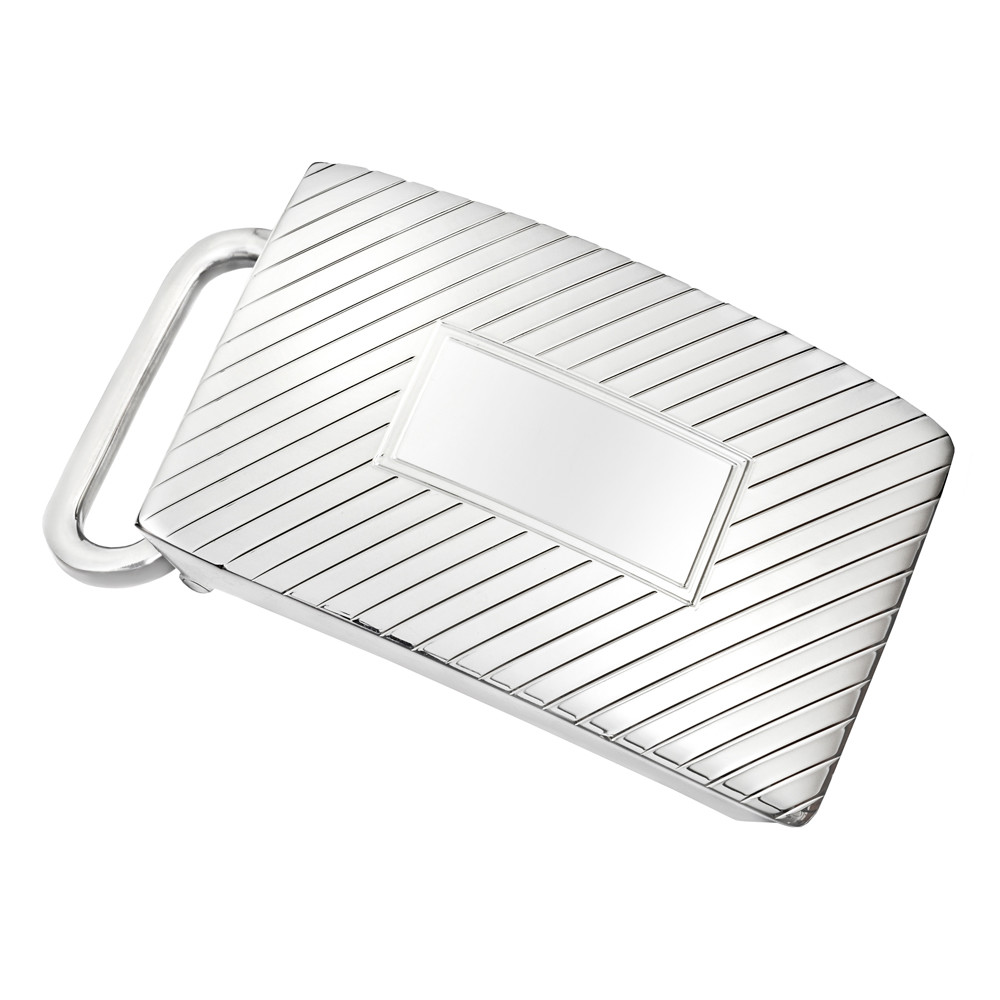 Silver Ribbed Slide Belt Buckle