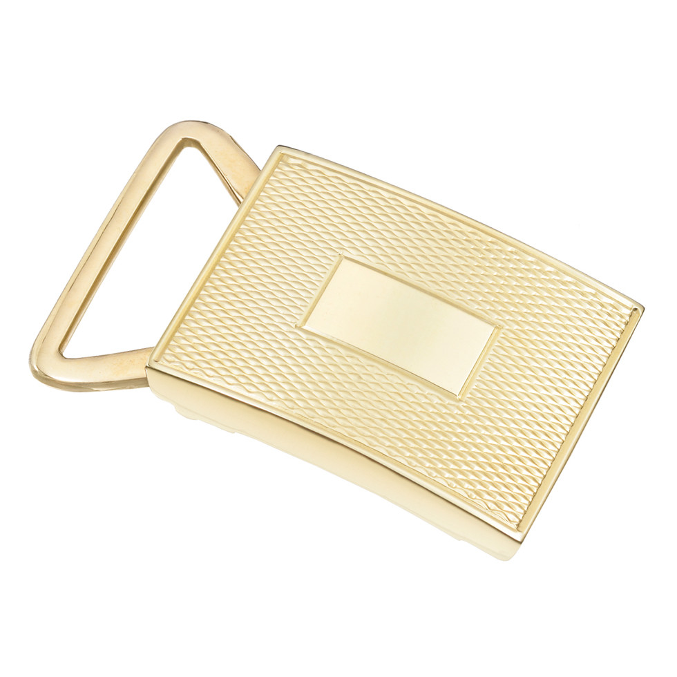 14k Yellow Gold Engine-Turned Slide Belt Buckle