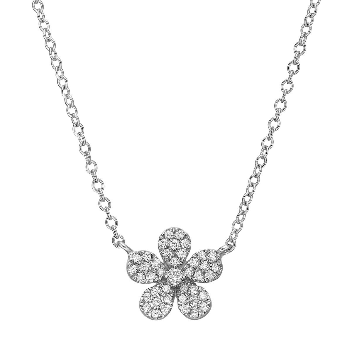 Small Pavé Diamond Flower Pendant