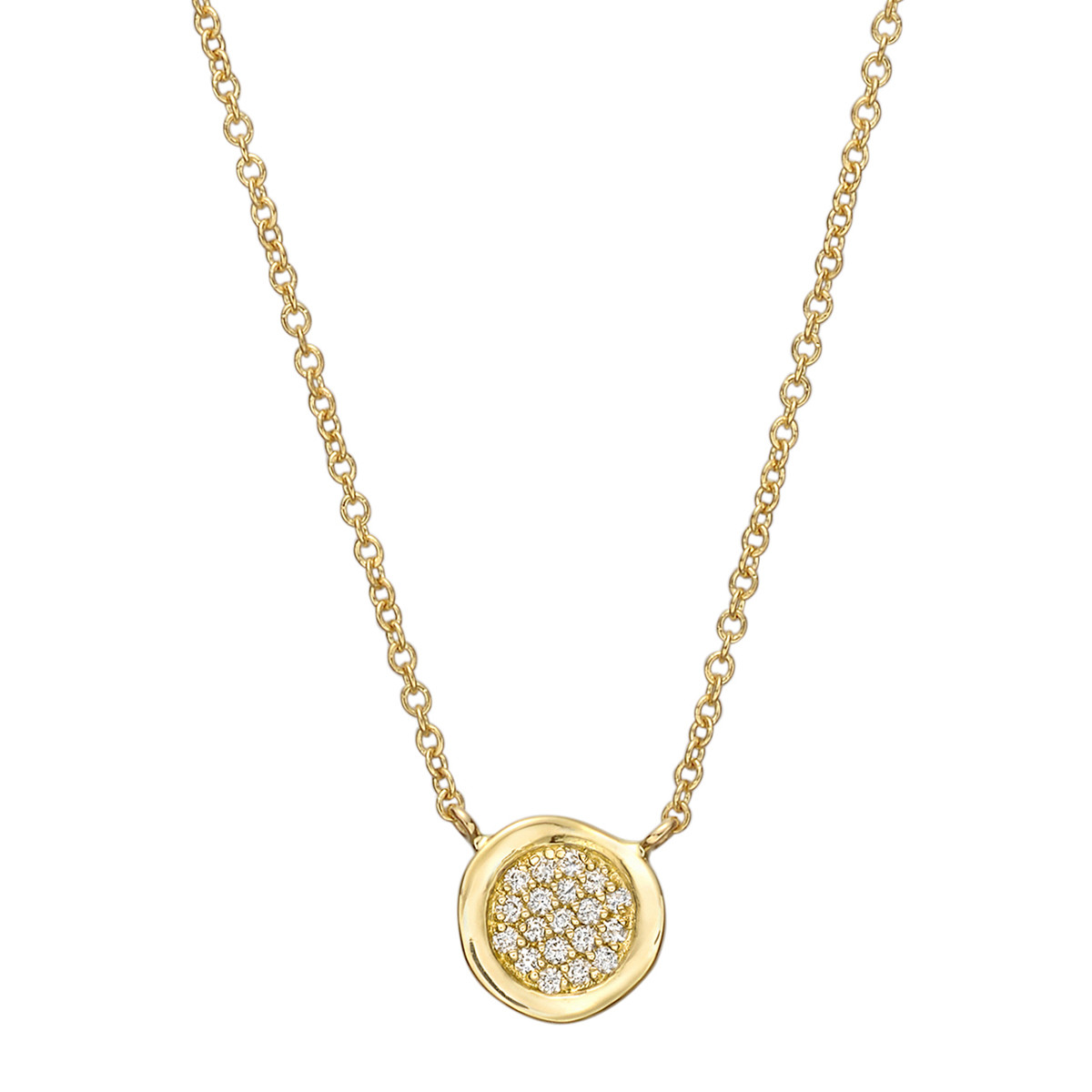 Small 18k Yellow Gold & Diamond Disc Pendant